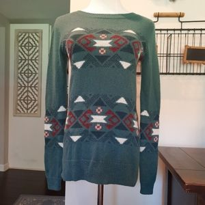 Hollister Green Aztec Tribal Print Cozy Sweater XS